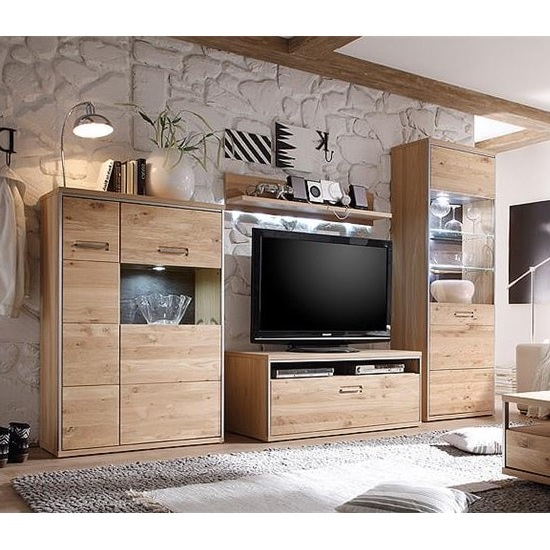 Huxley Wooden Living Room Set 2 In Bianco Oak And LED