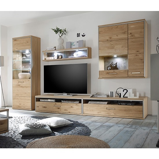 Huxley Wooden Living Room Set 3 In Bianco Oak And LED