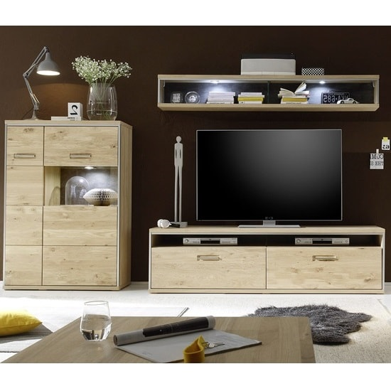 Huxley Wooden Living Room Set 6 In Bianco Oak And LED_2