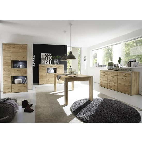 Huxley Wooden Highboard In Bianco Oak With 3 Doors With LED_6