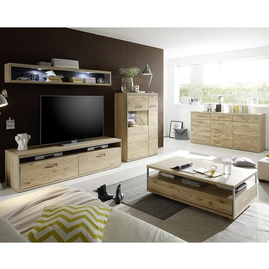 Huxley Wooden Sideboard In Bianco Oak With 3 Doors_8