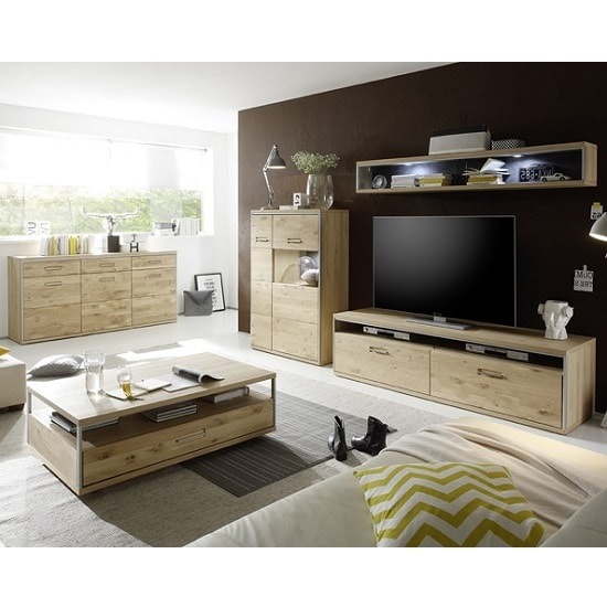 Huxley Wooden Living Room Set 6 In Bianco Oak And LED_7