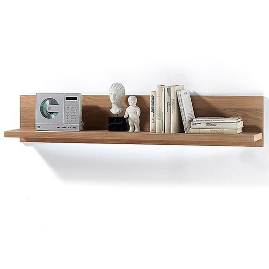 Huxley Wooden Wall Mounted Display Shelf In Bianco Oak And LED_1