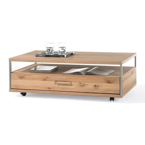 Huxley Wooden Coffee Table Rectangular In Bianco Oak