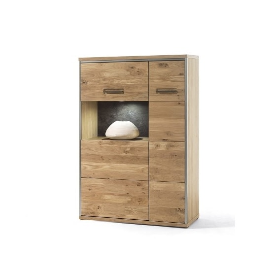 Huxley Right Combi Highboard In Bianco Oak With 2 Doors And LED