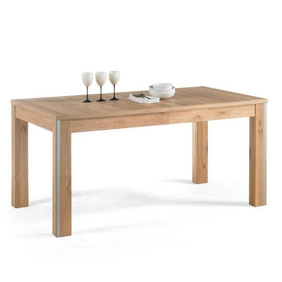 Huxley Wooden Large Extendable Dining Table In Bianco Oak