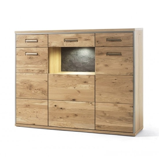 Huxley Wooden Highboard In Bianco Oak With 3 Doors With LED_5