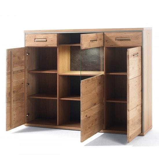 Huxley Wooden Highboard In Bianco Oak With 3 Doors With LED_2