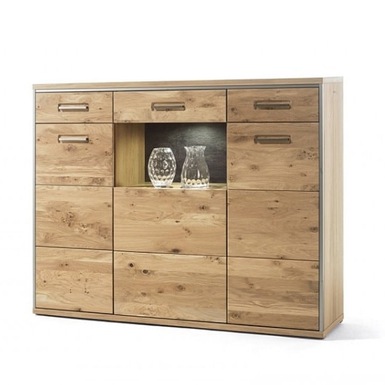 Huxley Wooden Highboard In Bianco Oak With 3 Doors With LED_1