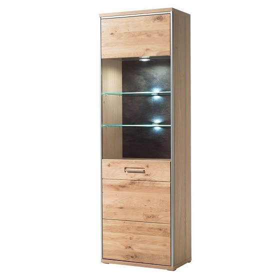 Huxley Wooden Left Display Cabinet In Bianco Oak With LED