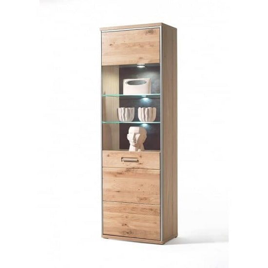 Huxley Wooden Right Display Cabinet In Bianco Oak With LED