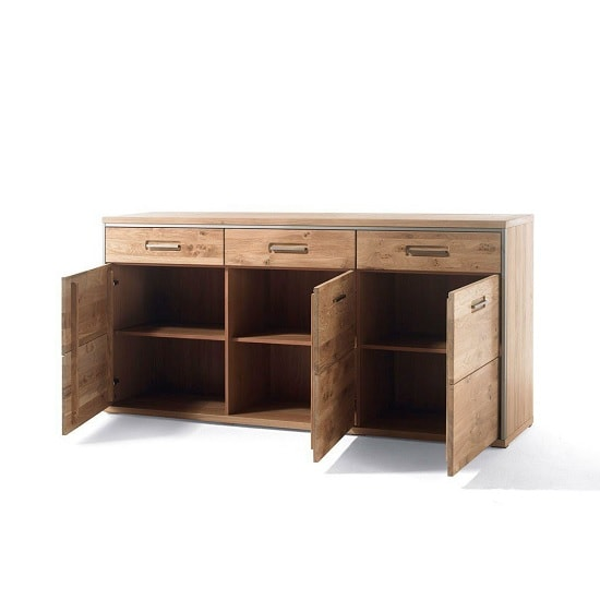 Huxley Wooden Sideboard In Bianco Oak With 3 Doors_2