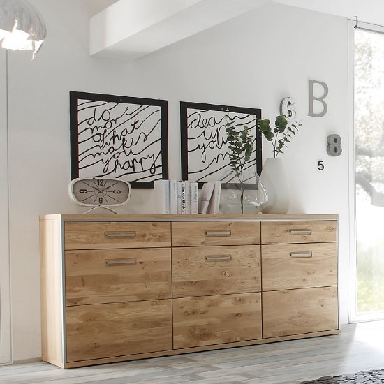 Huxley Wooden Sideboard In Bianco Oak With 3 Doors_1