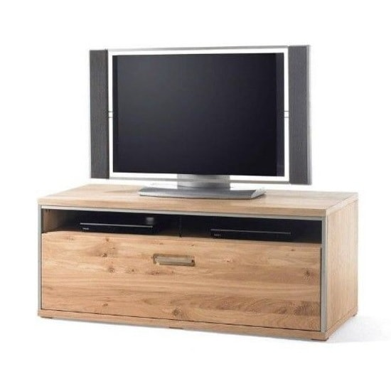 Huxley Wooden High TV Stand In Bianco Oak With 1 Drawer