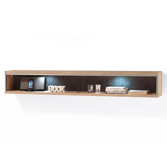 Huxley Wooden Wide Wall Mounted Shelf In Bianco Oak And LED