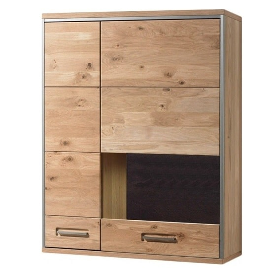 Huxley Left Wall Mounted Cabinet In Bianco Oak With LED
