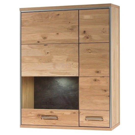 Huxley Right Wall Mounted Cabinet In Bianco Oak With LED_1