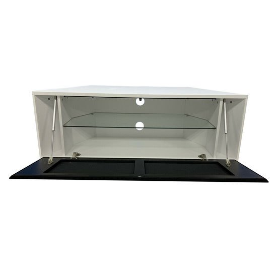 Hyde Wooden Large TV Stand In White With Chrome Feet_2