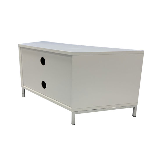 Hyde Wooden Large TV Stand In White With Chrome Feet_3