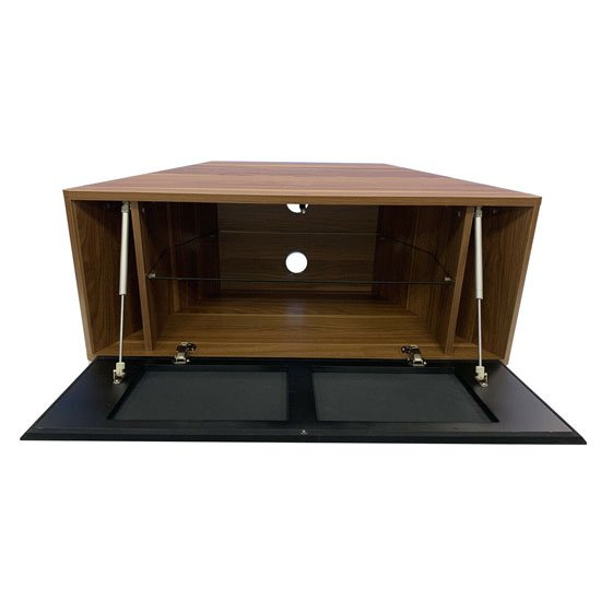 Hyde Wooden Small TV Stand In Walnut With Chrome Feet_2