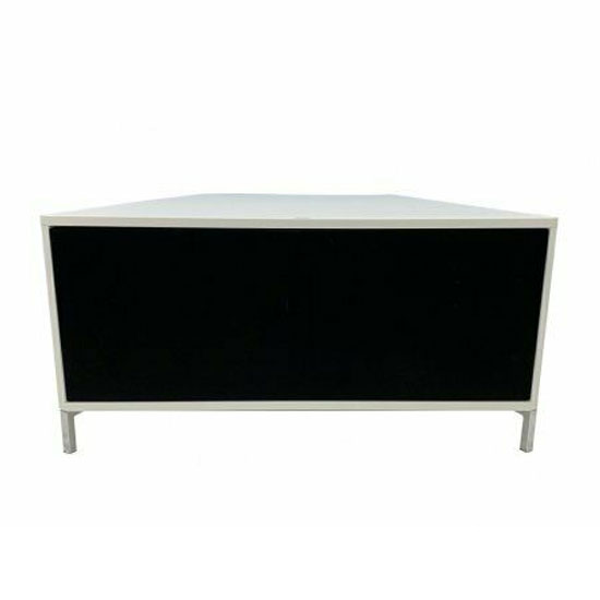 Hyde Wooden Small TV Stand In White With Chrome Feet