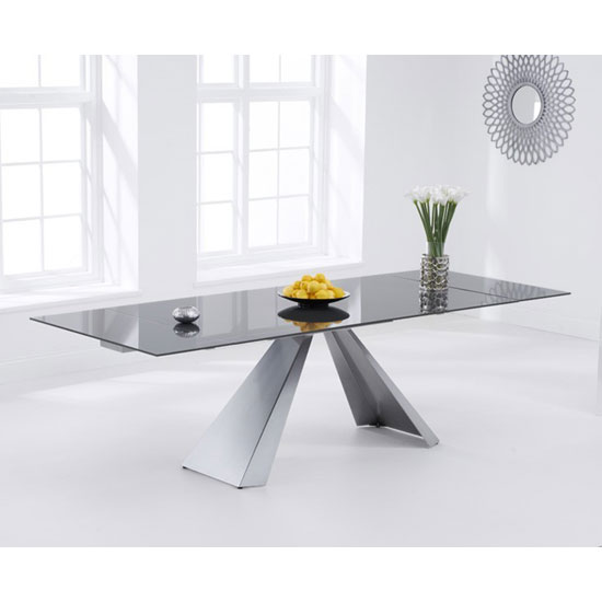 Hygena Extending Glass Dining Table In Dark Grey With Metal Legs