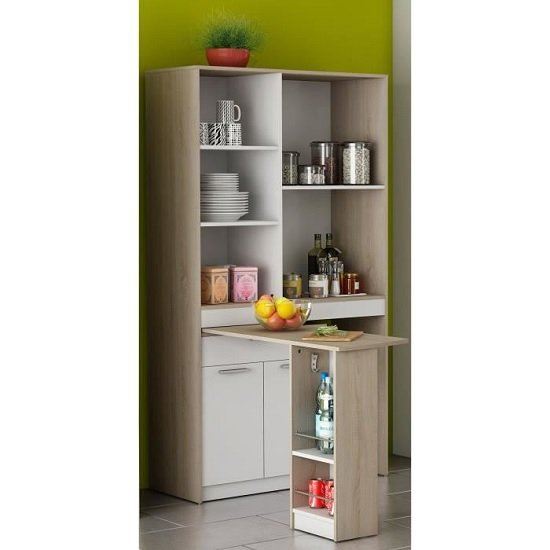 Hyttan Kitchen Display Cabinet In Brushed Oak And White