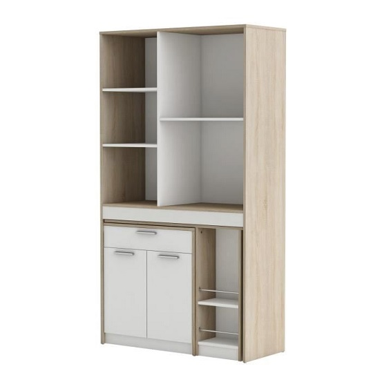 Hyttan Kitchen Display Cabinet In Brushed Oak And White_2