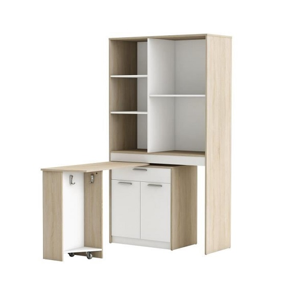 Hyttan Kitchen Display Cabinet In Brushed Oak And White_3