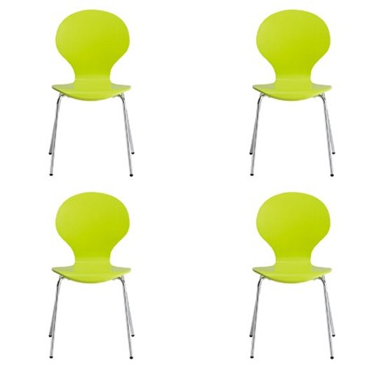 Ibiza Set Of 4 Dining Chairs In Lime