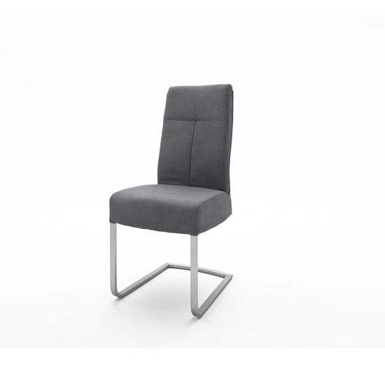 Ibsen Modern Dining Chair In Leather Look Anthracite