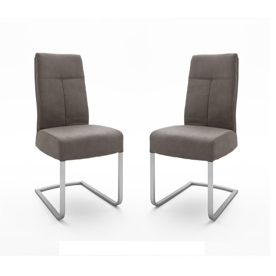 Ibsen Modern Dining Chair In Leather Look Brown In A Pair