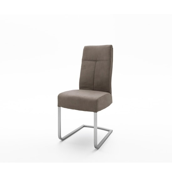 Ibsen Modern Dining Chair In Leather Look Sand