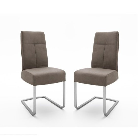 Ibsen Modern Dining Chair In Leather Look Sand In A Pair