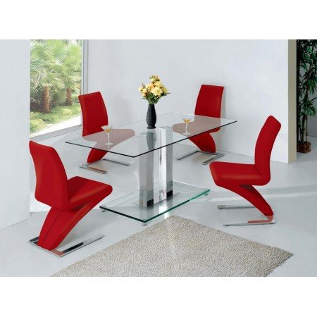 Ice Glass Dining Table In Clear With 6 Dining Chairs In Red Furniture In Fashion