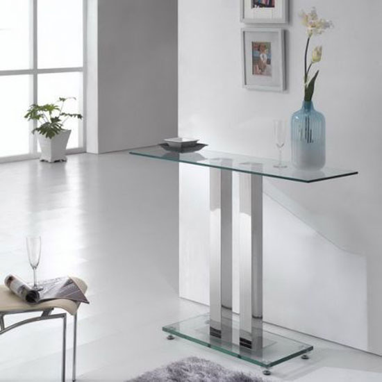 Ice Glass Console Table Rectangular In Clear Looks Dazzling
