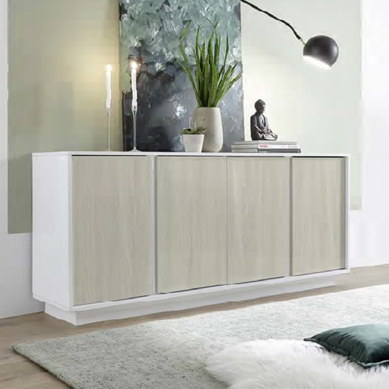 Iconic Sideboard In White High Gloss And Elm Oak With 4 Doors