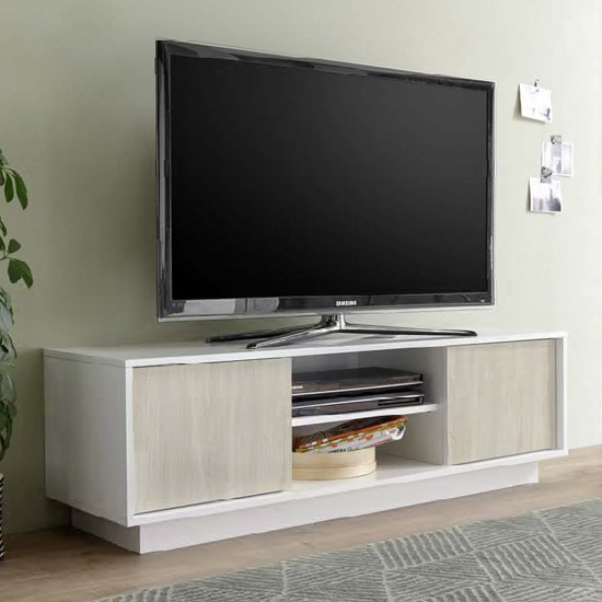 Iconic TV Stand In White High Gloss And Elm Oak With 2 Doors