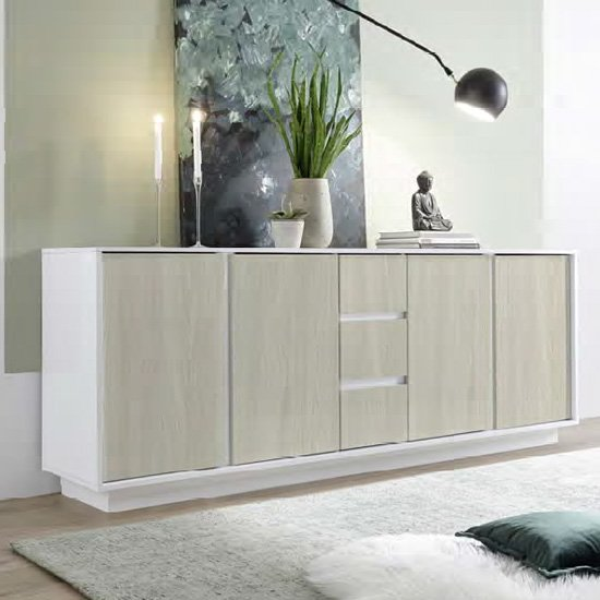 Iconic White Gloss Sideboard In Elm Oak With 4 Doors 3 Drawers