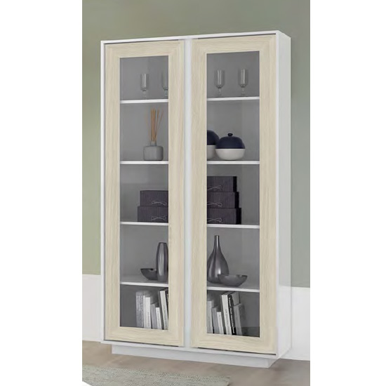 Iconic Wooden Display Cabinet In White High Gloss And Elm Oak