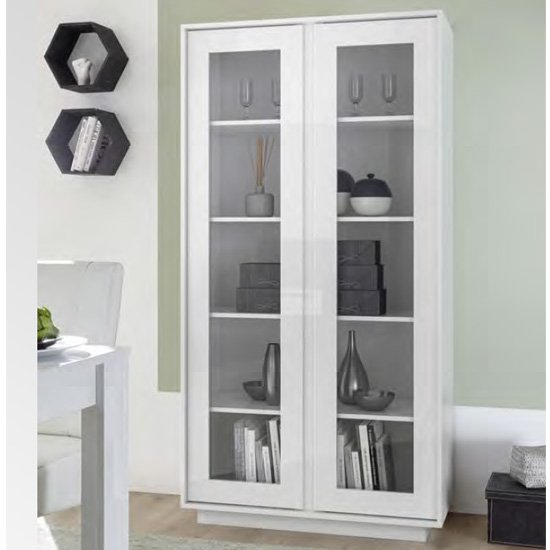 Iconic Wooden Display Cabinet In White High Gloss