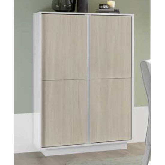 Iconic Wooden Highboard In White Gloss And Elm Oak With 4 Doors