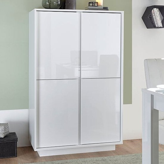 Iconic Wooden Highboard In White High Gloss With 4 Doors