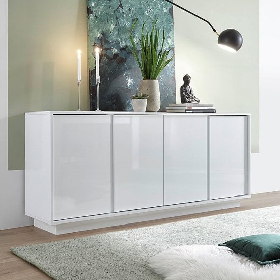 Iconic Wooden Sideboard In White High Gloss With 4 Doors
