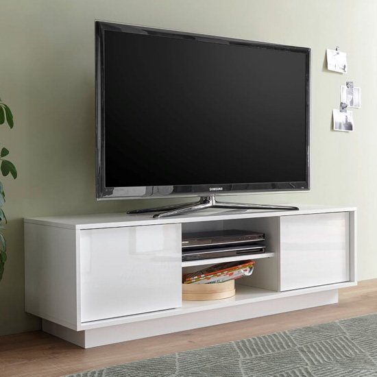 Iconic Wooden TV Stand In White High Gloss With 2 Doors