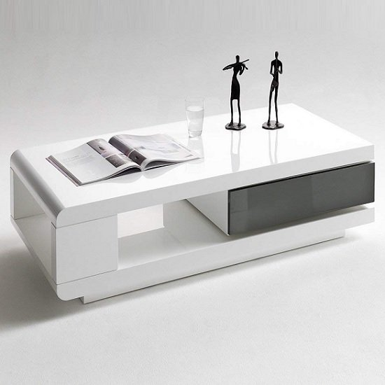 View Ida coffee table in white high gloss with grey rotating drawer