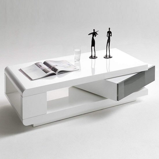 IDA Coffee Table In White High Gloss With Grey Rotating Drawer_2