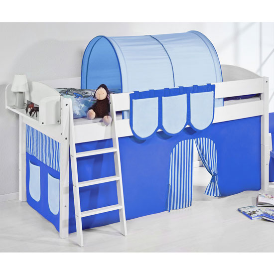 Lilla Children Bed In White With Blue Curtains