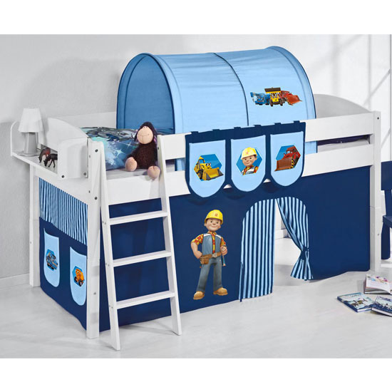 Lilla Children Bed In White With Bob The Builder Curtains