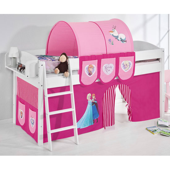 Lilla Children Bed In White With Frozen Pink Curtains